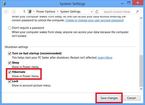 Hiển thị Hibernate trên Windows 8