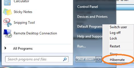 Cách bật / tắt chế độ hibernate trong Windows 7