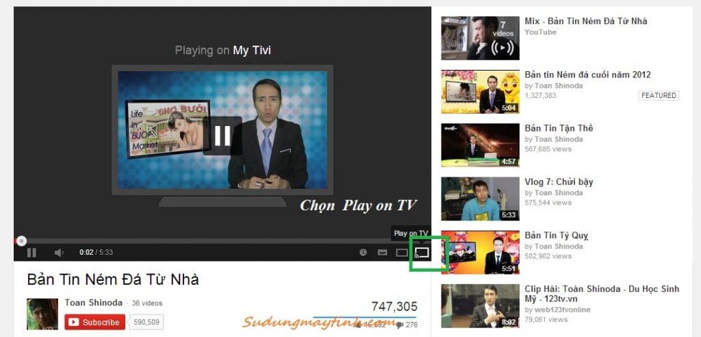 Điều khiển tivi xem Youtube từ máy tính