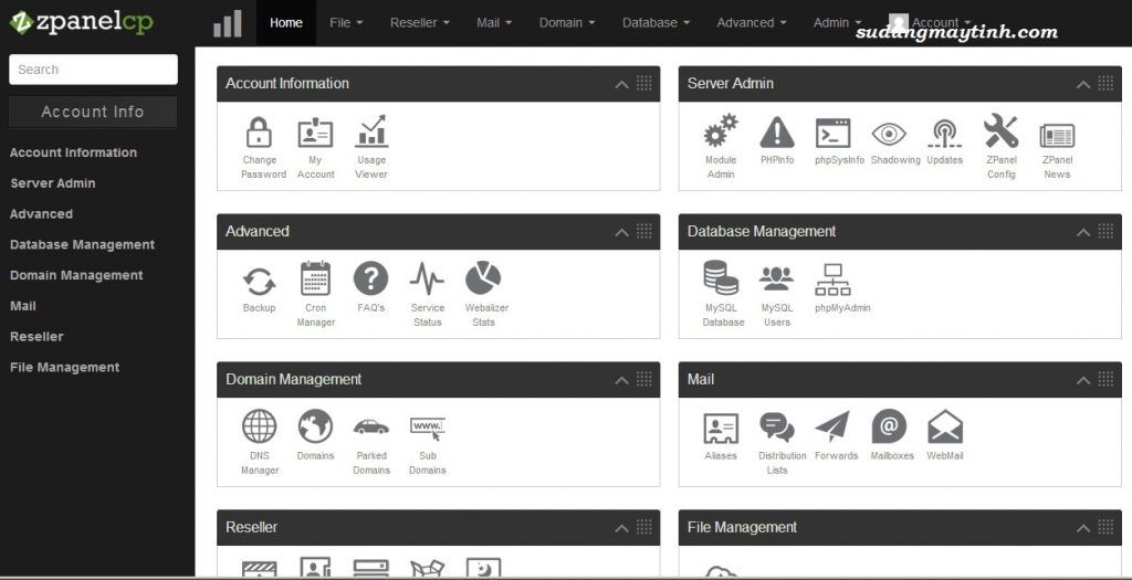 màn hình quản lý host của Zpanel