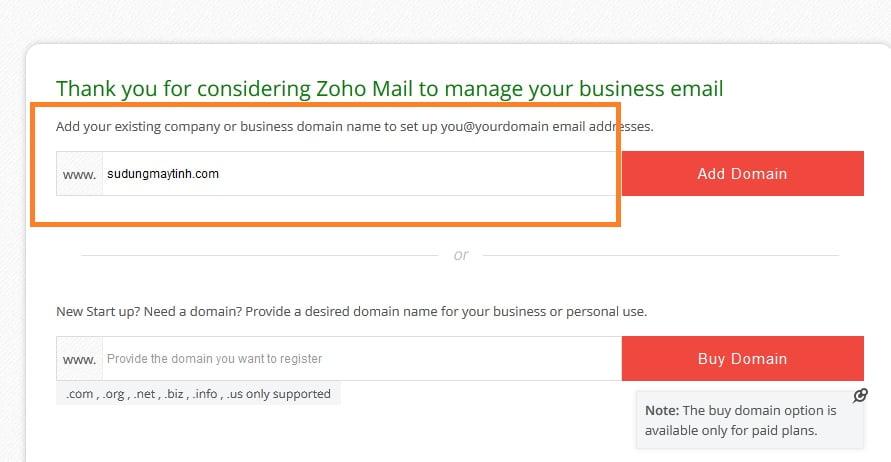 Bước 1: Đăng ký tài khoản Zoho mail miễn phí: