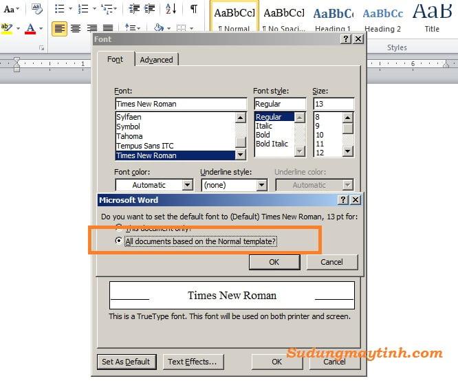 Hướng dẫn cách thay đổi font chữ mặc định trong Microsoft Word 2010