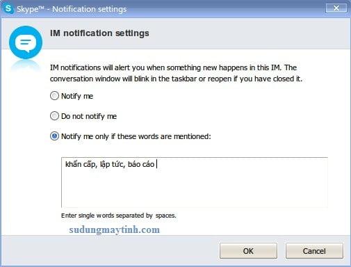 Cấu hình tùy chọn thông báo chat Skype