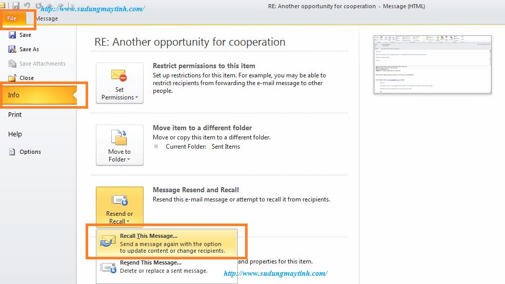 Hướng dẫn cách thu hồi email đã gửi trong Outlook