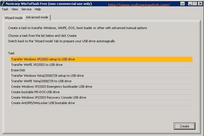 Tạo USB cài đặt hệ điều hành Windows bằng WinToFlash