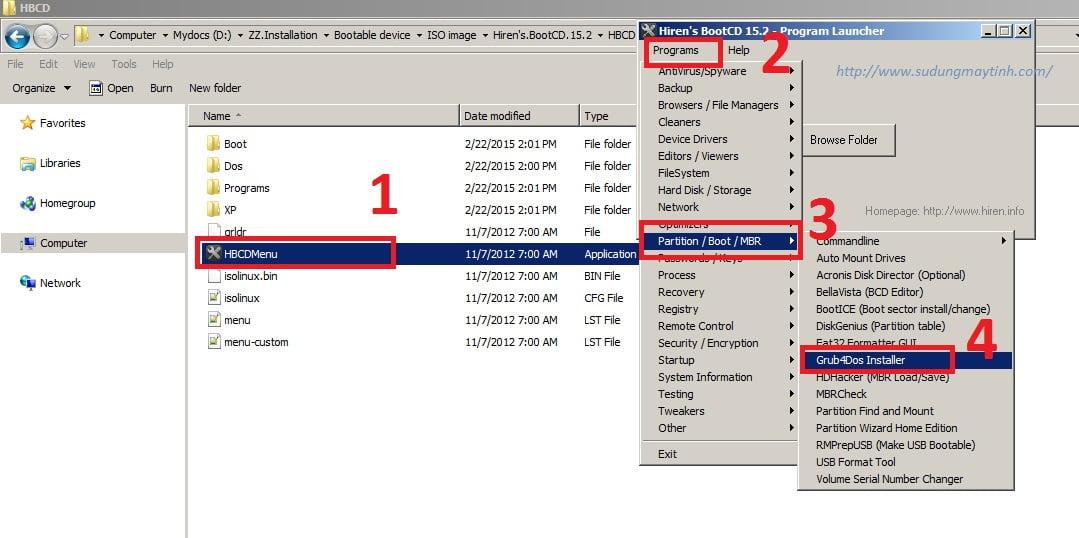 Cài đặt GRand Unified Bootloader (Grub) cho USB bằng Grub4Dos Installer 1.1