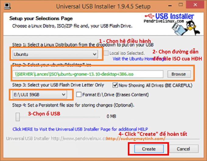 Tiến hành tạo USB cài đặt CentOS, Ubuntu... với Universal USB Installer