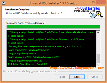 Click vào Create để bắt đầu tiến hành tạo USB cài đặt Ubuntu