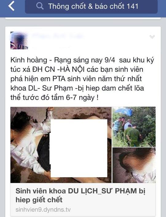 """tung tin đồn thất thiệt về """"Nữ sinh bị hiếp – giết"""" lên mạng xã hội Facebook"""
