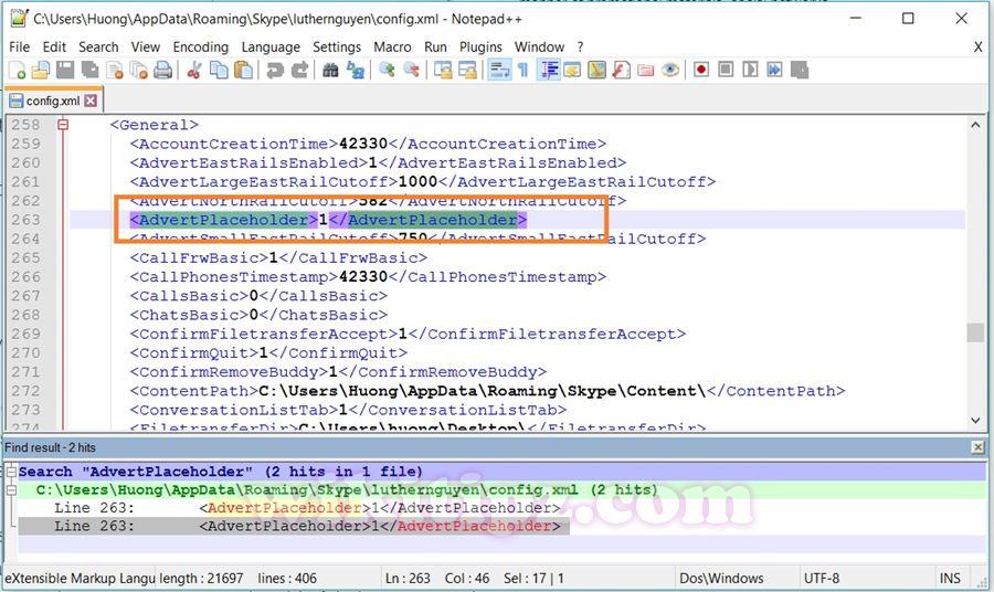 """Trong giao diện Notepad++, nhấn Ctrl+F để tìm từ khóa """"AdvertPlaceholder""""."""