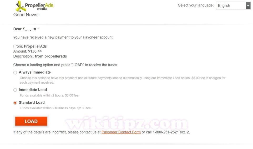 Nhận tiền từ PropellerAds qua Payoneer