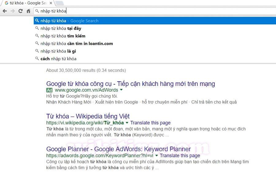 Nhập từ khóa tìm kiếm trực tiếp trên AddressBar