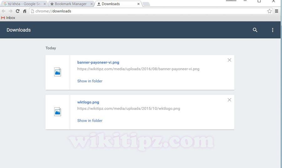 Phím tắt mở nhanh lịch sử Download của Chrome: Ctrl + J