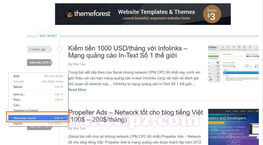 Xem mã nguồn (view page source) của trang web: Ctrl + U