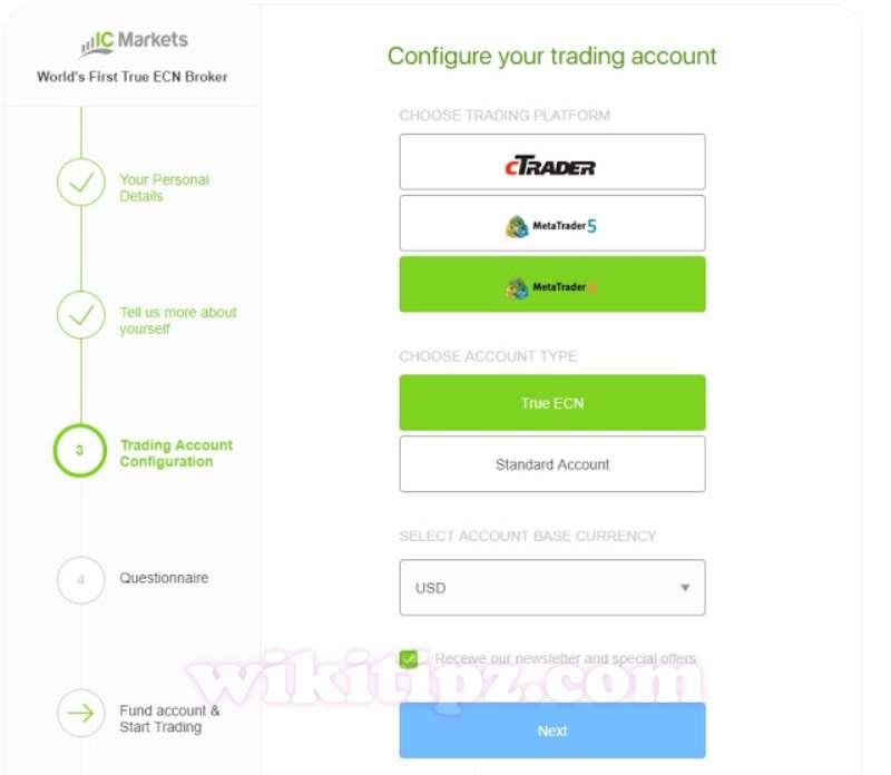 Bước 4:ChọnLoại tài khoản ICMarketsvà Loại tiền tệ bạn sẽ sử dụng